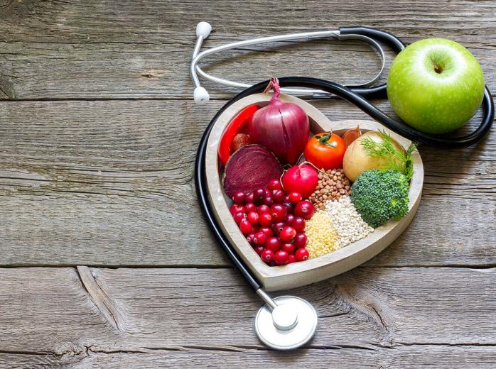heart shaped box containing healthy foods