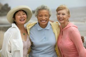 Three smiling women